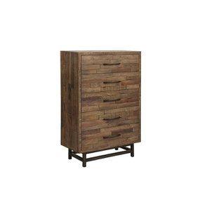 Commode chiffonnier industrielle en bois recyclé naturel grisé - Empreintes - Visuel n°5