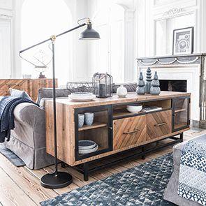 Meuble TV industriel en bois recyclé - Empreintes