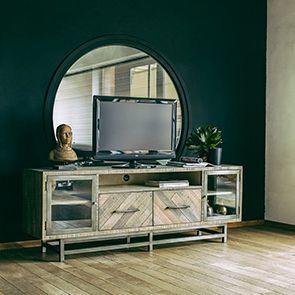 Meuble TV industriel en bois recyclé naturel grisé - Empreintes