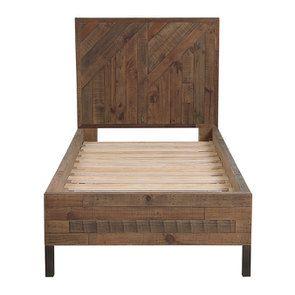 Lit enfant industriel 90x190 en bois recyclé naturel grisé - Empreintes - Visuel n°5