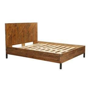 Lit industriel 160x200 en bois recyclé - Empreintes - Visuel n°3