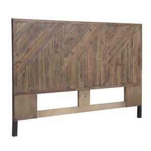 Tête de lit 160 industrielle en bois recyclé - Empreintes - Visuel n°2