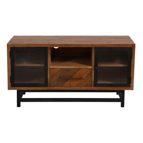Meuble TV  industriel en bois recyclé 1 tiroir - Empreintes