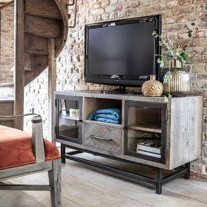 Meuble TV industriel en bois recyclé naturel gris 1 tiroir – Empreintes