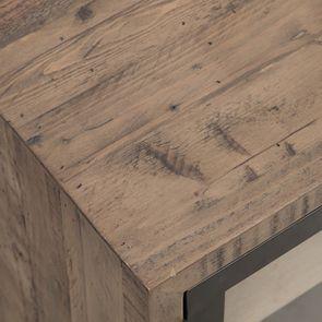 Meuble TV industriel en bois recyclé naturel gris 1 tiroir - Empreintes - Visuel n°11