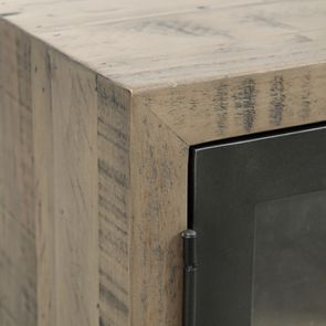 Meuble TV industriel en bois recyclé naturel gris 1 tiroir - Empreintes - Visuel n°12
