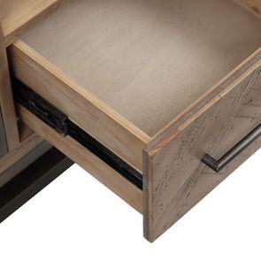 Meuble TV industriel en bois recyclé naturel gris 1 tiroir - Empreintes - Visuel n°13