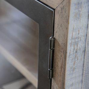 Meuble TV industriel en bois recyclé naturel gris 1 tiroir - Empreintes - Visuel n°14