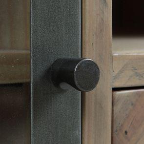Meuble TV industriel en bois recyclé naturel gris 1 tiroir - Empreintes - Visuel n°17