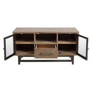 Meuble TV industriel en bois recyclé naturel gris 1 tiroir - Empreintes - Visuel n°3