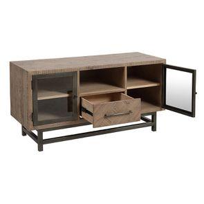 Meuble TV industriel en bois recyclé naturel gris 1 tiroir - Empreintes - Visuel n°4