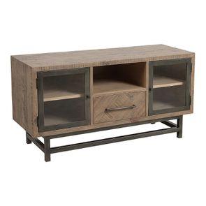 Meuble TV industriel en bois recyclé naturel gris 1 tiroir - Empreintes - Visuel n°5