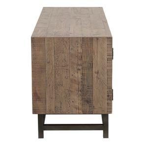 Meuble TV industriel en bois recyclé naturel gris 1 tiroir - Empreintes - Visuel n°6