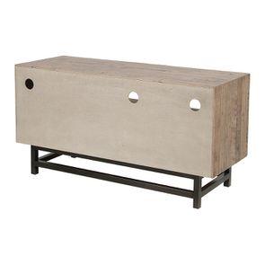 Meuble TV industriel en bois recyclé naturel gris 1 tiroir - Empreintes - Visuel n°7