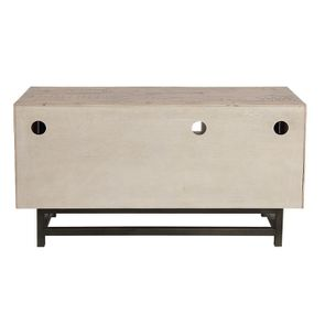 Meuble TV industriel en bois recyclé naturel gris 1 tiroir - Empreintes - Visuel n°8