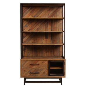 Bibliothèque industrielle en bois recyclé – Empreintes