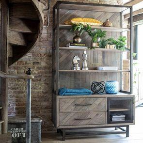 Bibliothèque industrielle en bois recyclé naturel grisé – Empreintes