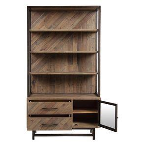 Bibliothèque industrielle en bois recyclé naturel grisé - Empreintes - Visuel n°3