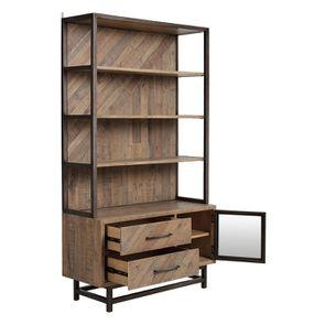 Bibliothèque industrielle en bois recyclé naturel grisé - Empreintes - Visuel n°4