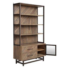 Bibliothèque industrielle en bois recyclé naturel grisé - Empreintes - Visuel n°5