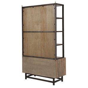 Bibliothèque industrielle en bois recyclé naturel grisé - Empreintes - Visuel n°8