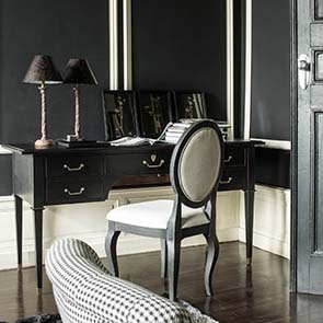 Bureau noir 5 tiroirs en acacia massif - Cénacle