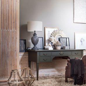 Bureau gris 5 tiroirs en acacia massif - Cénacle