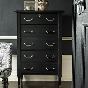 Commode semainier 5 tiroirs en acacia noir - Cénacle