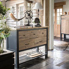 Commode bleue 5 tiroirs en bois recyclé - Rivages - Visuel n°3