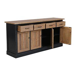 Buffet bas 4 portes 4 tiroirs en bois recyclé bleu - Rivages - Visuel n°7