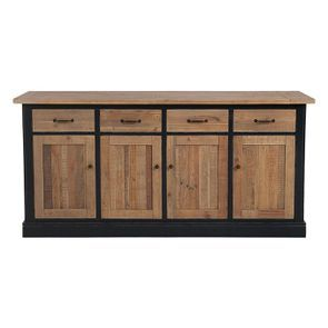Buffet bas 4 portes 4 tiroirs en bois recyclé bleu - Rivages