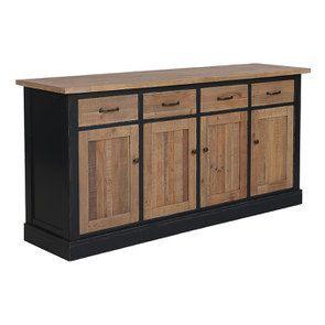 Buffet bas 4 portes 4 tiroirs en bois recyclé bleu - Rivages - Visuel n°3