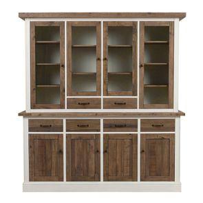 Buffet vaisselier 4 portes vitrées en bois recyclé - Rivages