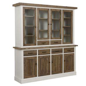 Buffet vaisselier 4 portes vitrées en bois recyclé - Rivages - Visuel n°4