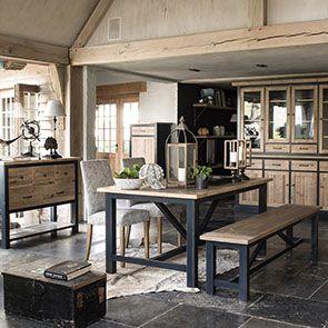 Buffet vaisselier 4 portes vitrées en bois recyclé bleu - Rivages - Visuel n°2