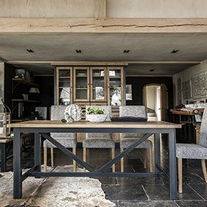Buffet vaisselier 4 portes vitrées en bois recyclé bleu - Rivages - Visuel n°3