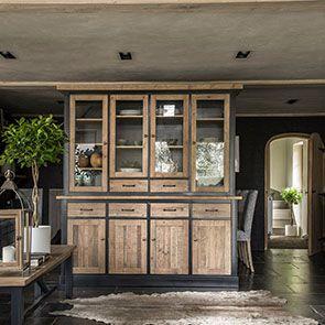 Buffet vaisselier 4 portes vitrées en bois recyclé bleu - Rivages - Visuel n°4
