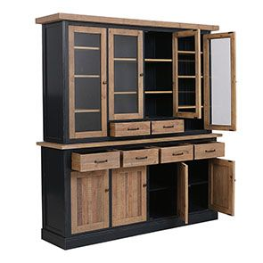 Buffet vaisselier 4 portes vitrées en bois recyclé bleu - Rivages - Visuel n°5