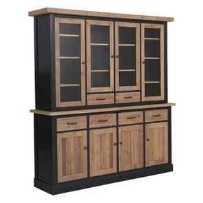 Buffet vaisselier 4 portes vitrées en bois recyclé bleu - Rivages - Visuel n°6
