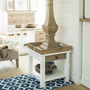 Bout de canapé blanc 1 tiroir en bois recyclé - Rivages