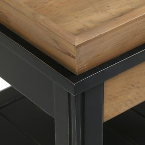 Bout de canapé bleu 1 tiroir en bois recyclé - Rivages - Visuel n°4