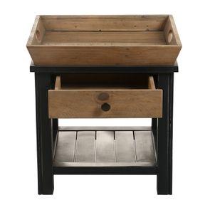 Bout de canapé bleu 1 tiroir en bois recyclé - Rivages - Visuel n°9