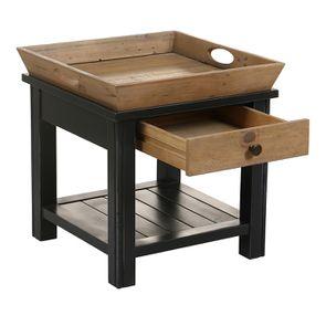 Bout de canapé bleu 1 tiroir en bois recyclé - Rivages - Visuel n°10
