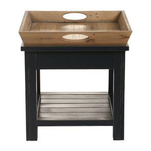 Bout de canapé bleu 1 tiroir en bois recyclé - Rivages - Visuel n°13