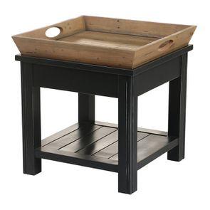Bout de canapé bleu 1 tiroir en bois recyclé - Rivages - Visuel n°14