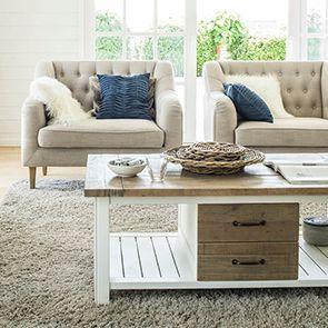 Table basse blanche rectangulaire avec rangement - Rivages - Visuel n°3