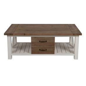 Table basse blanche rectangulaire avec rangement - Rivages