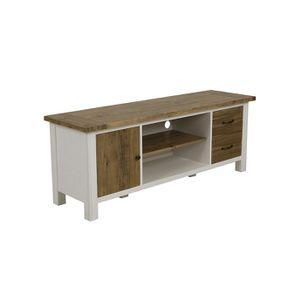 Meuble TV blanc avec rangements en bois recyclé - Rivages - Visuel n°3