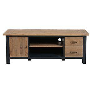 Meuble TV bleu avec rangements en bois recyclé - Rivages - Visuel n°7