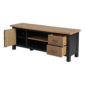 Meuble TV bleu avec rangements en bois recyclé - Rivages - Visuel n°10